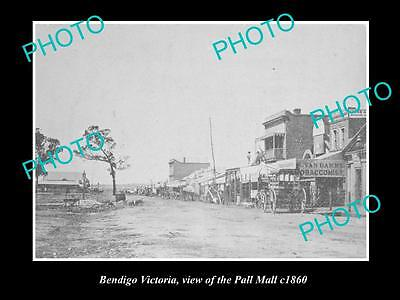OLD LARGE HISTORIC PHOTO OF BENDIGO VICTORIA, VIEW OF THE PALL MALL c1860