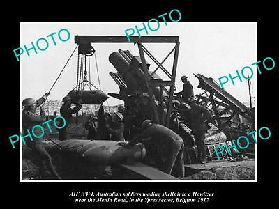 Old Large Historic Photo Of Australian Anzac, Loading The Howiter Gun Ypres 1917