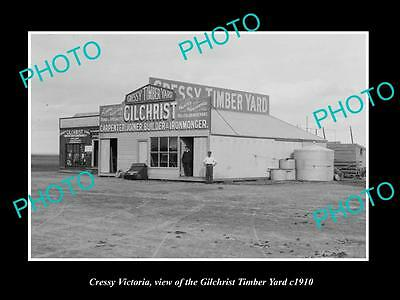 OLD LARGE HISTORIC PHOTO OF CRESSY VICTORIA, THE GILCHRIST TIMBER YARD c1910