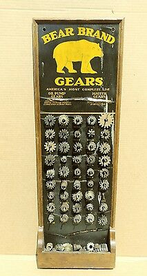 Rare 30's Bear Brand Oil Pump Gears Sign Display Gas Station Ford Packard Chevy