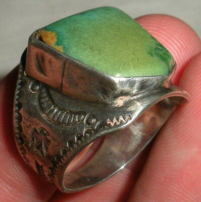 DATED 1936 FRED HARVEY CERILLOS TURQUOISE RING THUNDERBIRD SILVER NAVAJO vafo