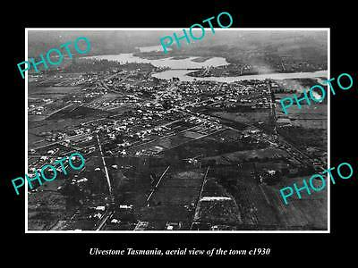 OLD LARGE HISTORIC PHOTO OF ULVESTONE TASMANIA, AERIAL VIEW OF THE TOWN c1930