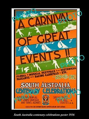 Old Large Historic Photo Of 1936 South Australia Centenary Carnival Poster
