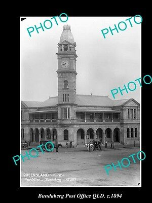 Old Large Historic Photo Of Bundaberg Qld, View Of The Post Office Building 1894