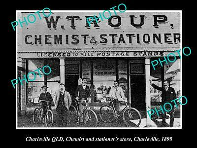 OLD LARGE HISTORIC PHOTO OF CHARLEVILLE QLD, VIEW OF TROUP's CHEMIST STORE 1898