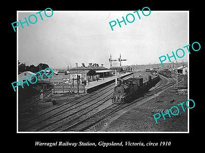 Old Large Historic Photo Of Warragul Victoria, View Of The Railway Station 1910