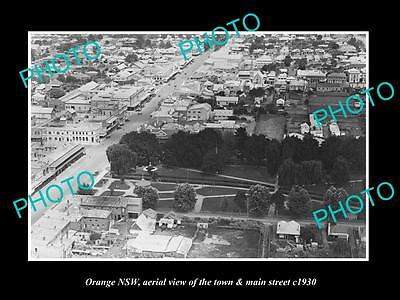 OLD LARGE HISTORIC PHOTO OF ORANGE NSW, AERIAL VIEW OF THE TOWN c1930