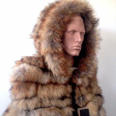 M - L  Mens vest jacket  real fox fur hooded