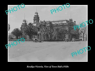 OLD LARGE HISTORIC PHOTO OF BENDIGO VICTORIA, VIEW OF THE TOWN HALL c1920s