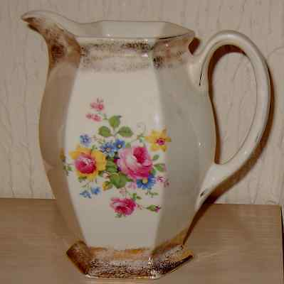 Vintage China Jug Pitcher ROSES & Gold Painted Stunning LARGEJug 1.75Pints/995ml