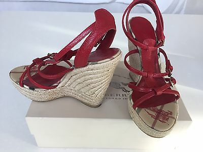 Burberry 38 Uk 5 Compensees Sandals Rouge Red Cuir Leather Prix 325€ Wedge