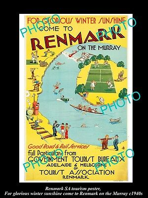OLD LARGE HISTORIC PHOTO OF 1940s RENMARK SOUTH AUSTRALIA TOURISM POSTER