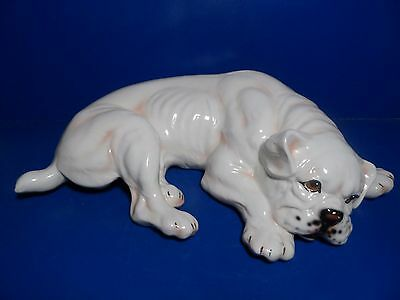 "Ceramic Bulldog Figure Made In Italy Bulldog Adorable 18"" Ronzan? Bull Dog NICE!"