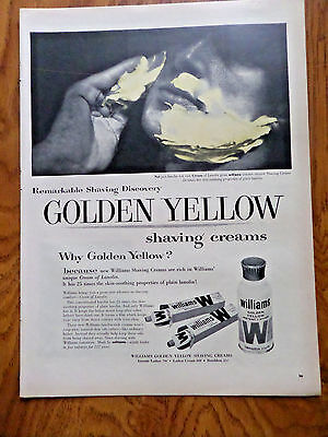 1957 Williams Golden Yellow Instant Lather Shaving Creams Ad Why Golden Yellow?