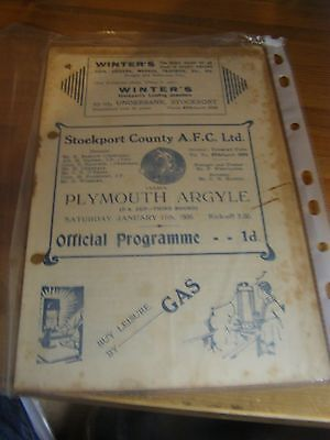 Stockport County v Plymouth Argyle FA Cup 35/6  Pre war football programme