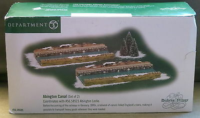 Department 56 DICKEN'S VILLAGE ABINGTON CANAL #56.58535 Holiday Set Of 2