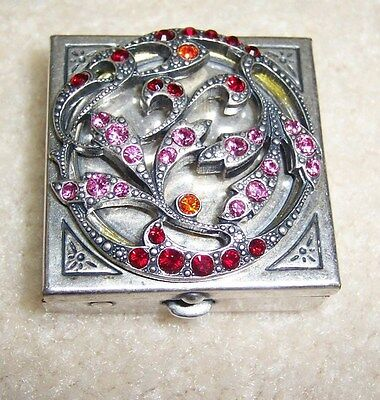 """New La Vie Parisienne """"old Silver"""" Box With Pink & Red Crystal Design"""