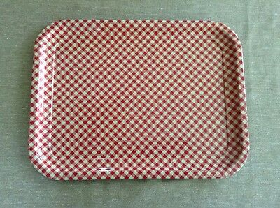 "Vintage Red And White Checkered Enameled Metal Tray 13 3/4"" X 10 1/2"" A"