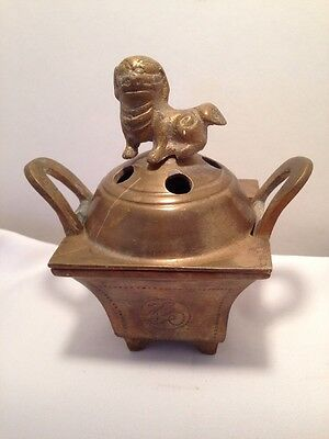 Vintage BRASS Chinese Incense Burner Box With FOO DOG Lid-Footed