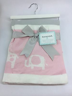 Sumersault Baby Throw Pink Gray Animal Cotton Knit Blanket New