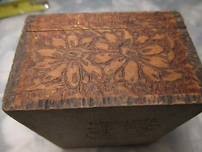 Antique Vintage Flemish Art NY Co.Pyrography Wood Burned Floral #695 jewelry box