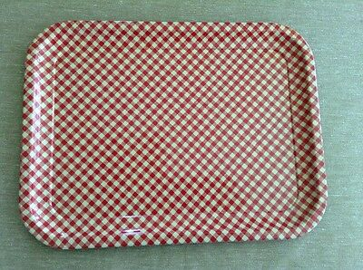 "Vintage Red And White Checkered Enameled Metal Tray 13 3/4"" X 10 1/2"" B"