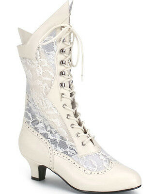 Ivory Lace Up Victorian Ankle Womens Boots