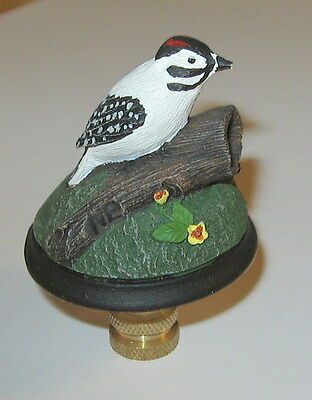 Downy Woodpecker Lamp Finial, lamp topper, bisque, bird