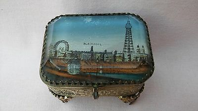 Antique Very Rare Victorian Blackpool Tower Souvenir Metal Box With Glass Lid.