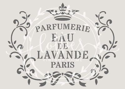 A5 STENCIL EAU DE LAVANDE Furniture Fabric Vintage FRENCH ❤ Shabby Chic