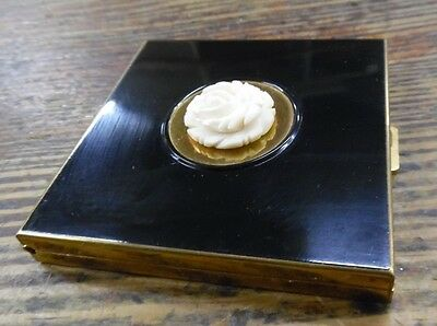 VTG Volupte Goldtone Black & Carved Rose Powder Compact  W/ Mirror