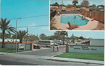 Vintage Postcard Temp Arizona AZ Travel Trailer Villa Pool Inset Chrome