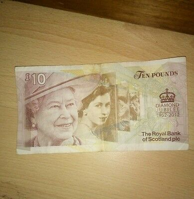Royal Bank of Scotland Ten Pound £10 Banknote - Lord Ilay/Queen Diamond Jubilee