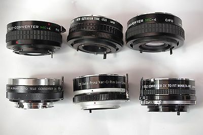 For Canon FD and Minolta MD lens x2 teleconverter extender lot