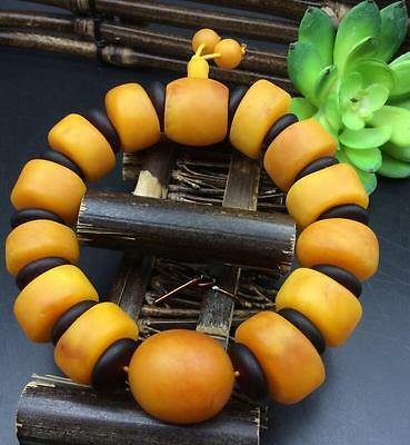 Certificat Vintage Natural BALTIC AMBER Beeswax Yellow Wax Chicken Oil Bracelet