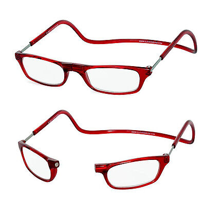 +1.00 Magnetic Reading Glasses Click Loop Red Snap Front Close Neck Hanging  +1