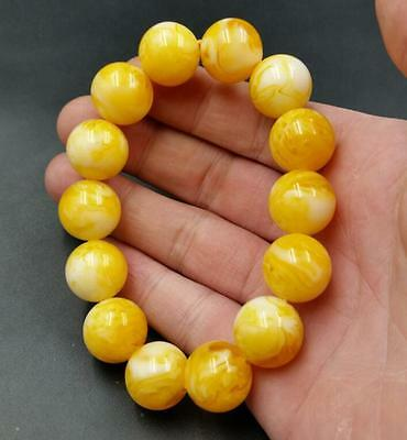Certificat Vintage Natural BALTIC AMBER Beeswax Round Bead Bracelet Bracelet