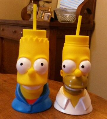 2 New 2010 The Simpsons Travel Cup Mug Straw Bart Homer Universal Studios