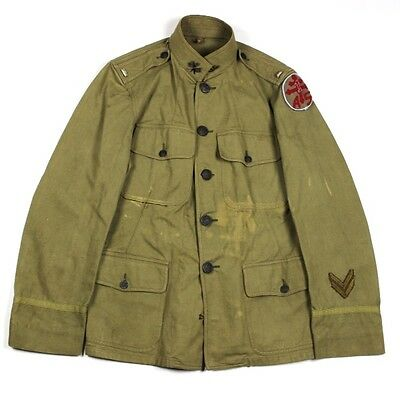 Wwi Us Army Officer Khaki Tan Cotton Dress Jacket Tunic Coat Service Of Supply