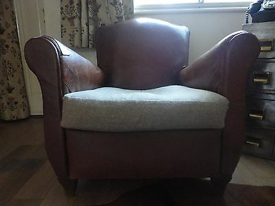 Antique Vintage French  Leather Brown Club Chair DELIVERY CAN BE ARRANGED