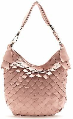YVES SAINT LAURENT Blush Pink Leather St. Tropez Tiered Scale Shoulder Bag