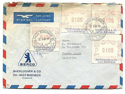 SWITZERLAND to ARGENTINA meter mail label stamps cover SWISS
