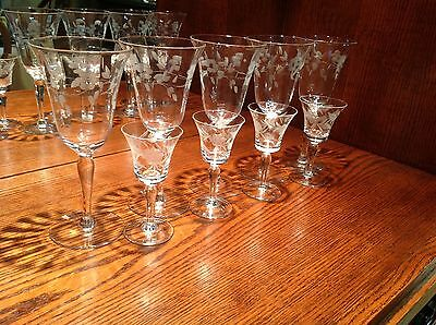 Formal glassware, etched water and cordial glasses, set. Stemware, ferns, flower