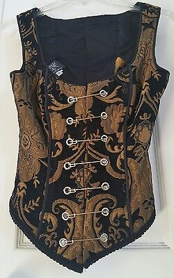 Gold & Black Tapestry Pin Bodice Corset Renaissance Faire Costume Size Small