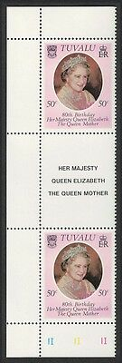 Tuvalu 80th Birthday of The Queen Mother 1v Left Gutter Pair SG#148