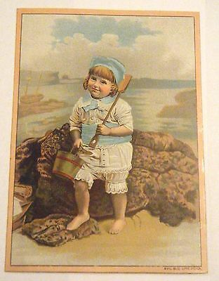 Stimson's Sudsena Washing Powder Soap Trade Card Victorian Child on Beach PA Co.