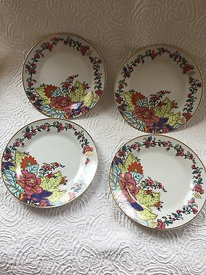 "4 SALAD PLATEs 7 1/2"" IMPERIAL LEAF CHINA 'TOBACCO LEAF'  GOLD ACCENTS"