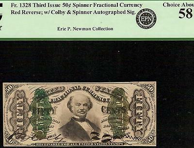 50 CENT HAND SIGNED AUTOGRAPHED SPINNER FRACTIONAL CURRENCY NOTE Fr 1328 PCGS 58