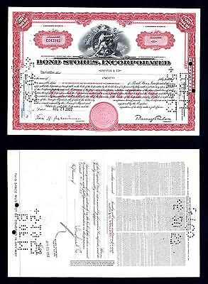 Bond Stores 20 Share common Stock Certificate issued - 1952 - Lot # 14