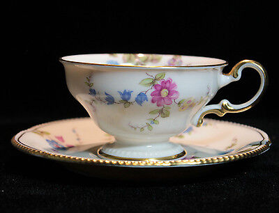 Castleton China Sunnyvale Pattern Made in USA Footed Cup & Saucer Set Floral